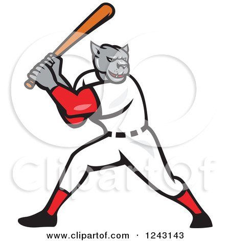 Clipart of a Cartoon Panther Baseball Player Batting - Royalty Free Vector Illustration by patrimonio