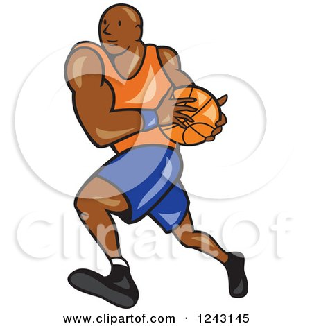 Clipart of a Cartoon Black Male Basketball Player Running - Royalty Free Vector Illustration by patrimonio
