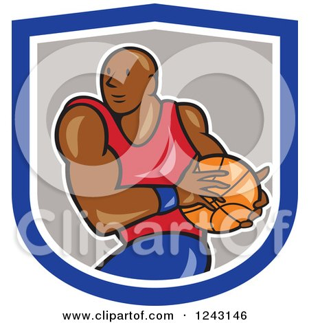 Clipart of a Cartoon Black Male Basketball Player Running in a Shield - Royalty Free Vector Illustration by patrimonio