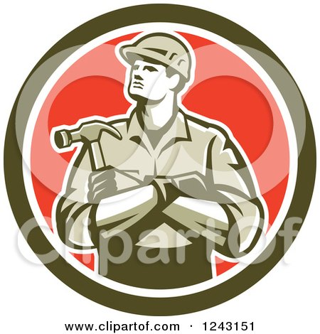 Retro Male Carpenter With Folded Arms and a Hammer in a circle Posters, Art Prints