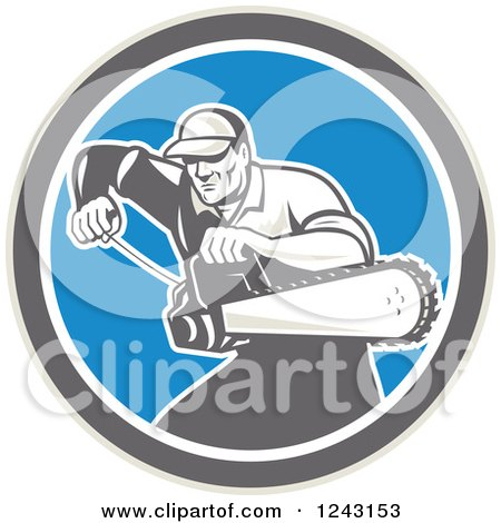 Clipart of a Retro Male Arborist Starting up a Chainsaw in a Blue Circle - Royalty Free Vector Illustration by patrimonio