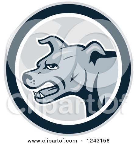 Clipart of a Cartoon Gray Attacking Guard Dog in a Circle - Royalty Free Vector Illustration by patrimonio