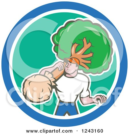 Cartoon Male Gardener or Landscaper Carrying a Tree in a Circle Posters, Art Prints