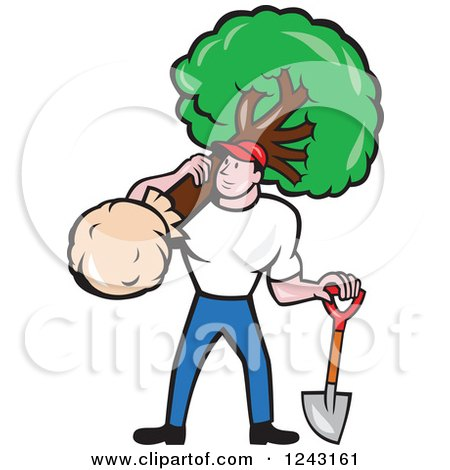 Clipart of a Cartoon Male Gardener or Landscaper with a Shield and Tree - Royalty Free Vector Illustration by patrimonio