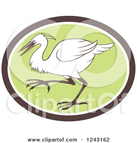 Clipart of a Retro Egret Heron or Crane Bird in a Green Oval - Royalty Free Vector Illustration by patrimonio