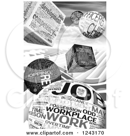 Clipart of a Grayscale Background of 3d Job Word Collage Cubes and Spheres - Royalty Free Illustration by MacX