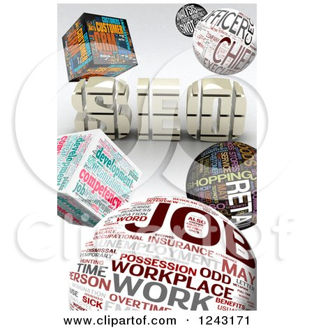 Clipart of a Background of 3d Job Word Collage Cubes and Spheres with SEO - Royalty Free Illustration by MacX