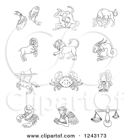 Clipart of Black and White Outlined Zodiac Star Signs - Royalty Free Vector Illustration by AtStockIllustration