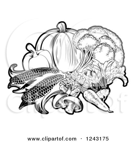 Black and White Fresh Vegetables Posters, Art Prints
