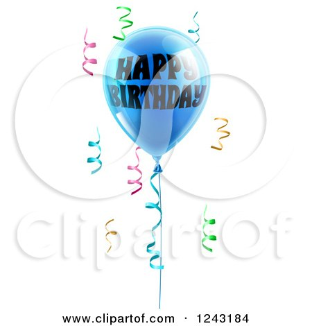 Clipart of a 3d Blue Happy Birthday Balloon and Colorful Ribbon Confetti - Royalty Free Vector Illustration by AtStockIllustration