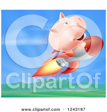 Clipart of a 3d Piggy Bank Riding a Rocket over a Valley - Royalty Free Vector Illustration by AtStockIllustration