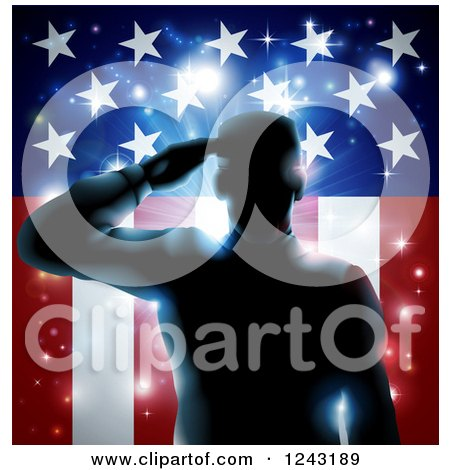 Clipart of a Silhouetted Military Veteran Saluting over an American Flag and Bursts - Royalty Free Vector Illustration by AtStockIllustration