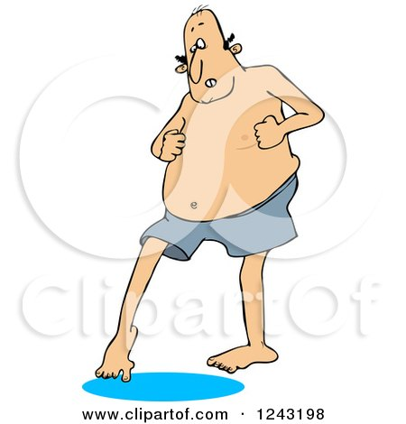 Clipart of a Chubby Caucasian Man in Swim Trunks, Dipping His Toe in Water - Royalty Free Vector Illustration by djart
