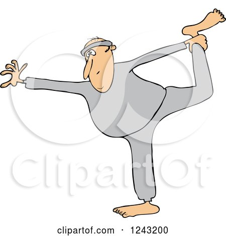 Clipart of a Chubby White Man Stretching or Doing Yoga - Royalty Free Vector Illustration by djart