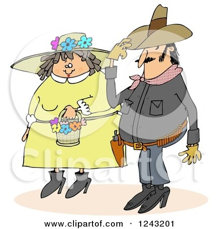 Clipart of a Cowboy and Chubby Caucasian Woman in a Spring Bonnet Couple - Royalty Free Illustration by djart
