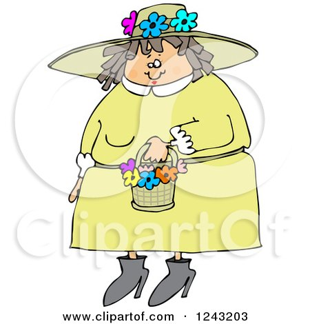 Clipart of a Chubby Caucasian Woman in a Green Dress and Spring Flower Bonnet - Royalty Free Vector Illustration by djart