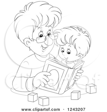 Clipart of a Black and White Father Reading a Story Book to His Son - Royalty Free Vector Illustration by Alex Bannykh