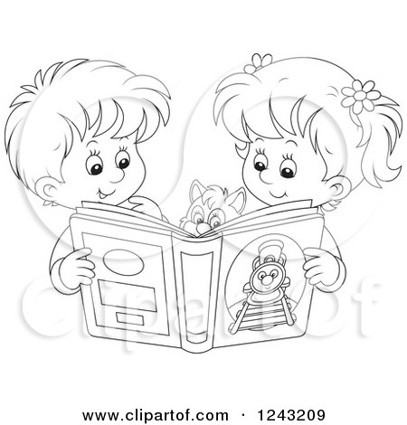 Clipart Of A Black And White Boy And Girl Reading A Story Book To Their Cat Royalty Free Vector Illustration By Alex Bannykh 1243209