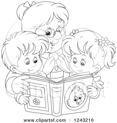 Clipart of a Black and White Granny Reading a Story Book to Her Grandchildren - Royalty Free Vector Illustration by Alex Bannykh