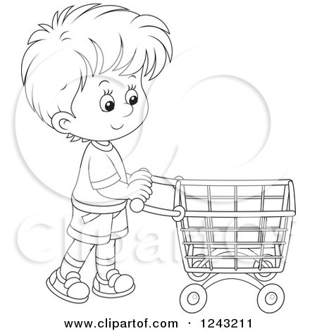 Clipart of a Black and White Boy Pushing a Shopping Cart - Royalty Free Vector Illustration by Alex Bannykh