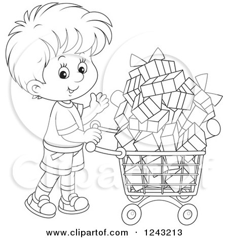 Clipart of a Black and White Boy Pushing a Shopping Cart Full of Presents - Royalty Free Vector Illustration by Alex Bannykh