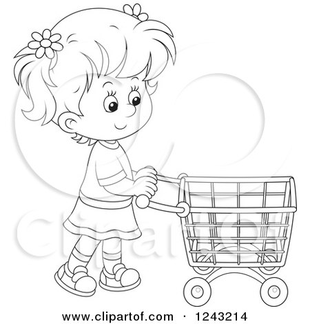 Clipart of a Black and White Girl Pushing a Shopping Cart - Royalty Free Vector Illustration by Alex Bannykh