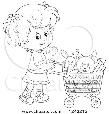 Clipart of a Black and White Girl Pushing a Shopping Cart Full of Toys - Royalty Free Vector Illustration by Alex Bannykh