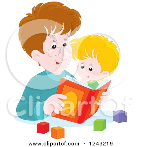 Clipart of a Happy Caucasian Father Reading a Story Book to His Son - Royalty Free Vector Illustration by Alex Bannykh
