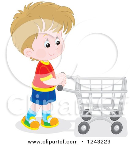 Clipart of a White Boy Pushing a Shopping Cart - Royalty Free Vector Illustration by Alex Bannykh