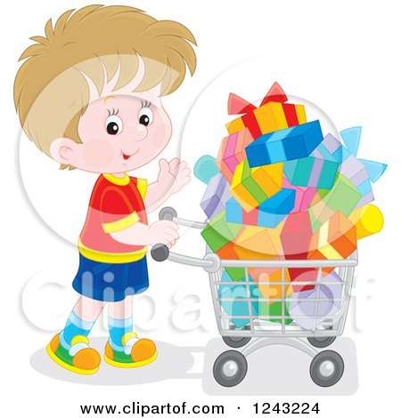 Clipart of a White Boy Pushing a Shopping Cart Full of Presents - Royalty Free Vector Illustration by Alex Bannykh