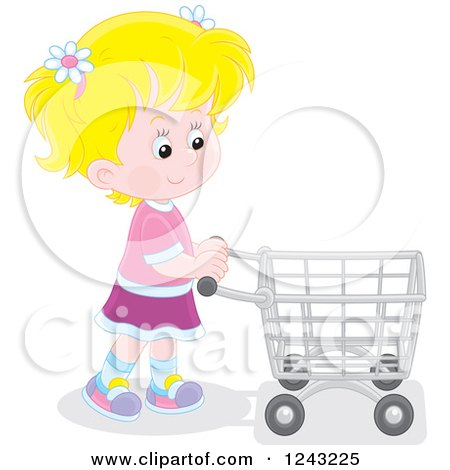 Clipart of a Blond Caucasian Girl Pushing a Shopping Cart - Royalty Free Vector Illustration by Alex Bannykh