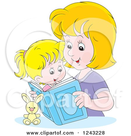 Clipart of a Caucasian Father Reading a Story Book to His Son ...