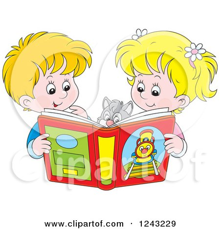 Clipart of a Happy Blond Boy and Girl Reading a Story Book to Their Cat - Royalty Free Vector Illustration by Alex Bannykh