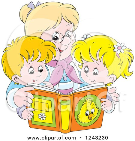 Clipart of a Happy Blond Granny Reading a Story Book to Her Grandchildren - Royalty Free Vector Illustration by Alex Bannykh