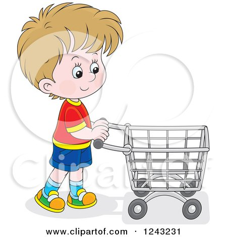 Clipart of a Caucasian Boy Pushing a Shopping Cart - Royalty Free Vector Illustration by Alex Bannykh