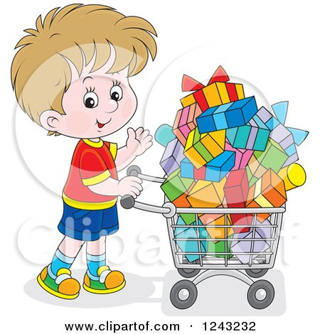 Clipart of a Caucasian Boy Pushing a Shopping Cart Full of Presents - Royalty Free Vector Illustration by Alex Bannykh