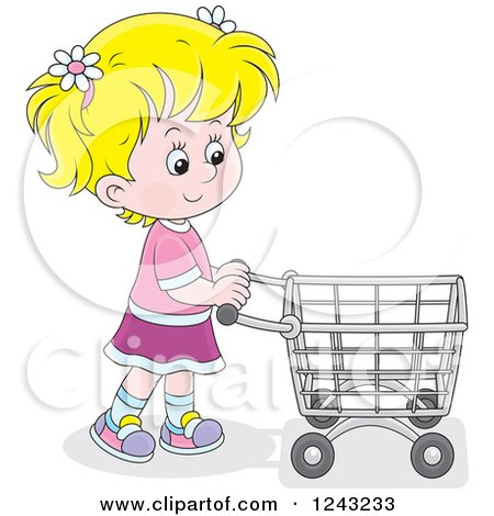 Clipart of a Blond Girl Pushing a Shopping Cart - Royalty Free Vector Illustration by Alex Bannykh