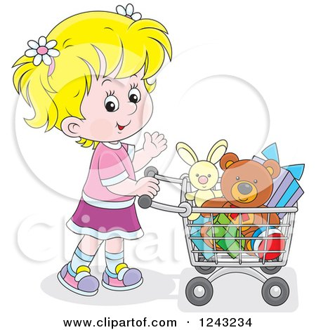 Clipart of a Blond Girl Pushing a Shopping Cart Full of Toys - Royalty Free Vector Illustration by Alex Bannykh
