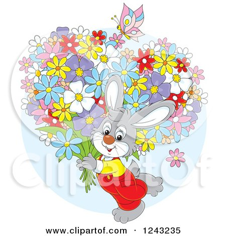 Clipart of a Gray Bunny Rabit Carrying Flowers - Royalty Free Vector Illustration by Alex Bannykh