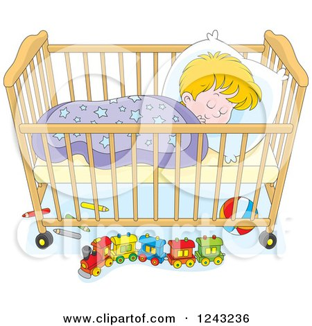 Clipart of a Blond Toddler Boy Sleeping in a Crib - Royalty Free Vector Illustration by Alex Bannykh