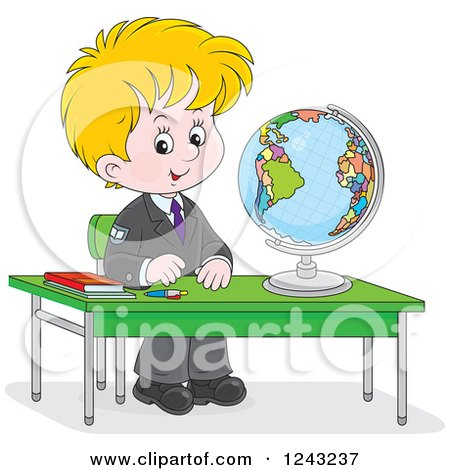 Clipart of a Blond School Boy with a Globe at a Desk - Royalty Free Vector Illustration by Alex Bannykh