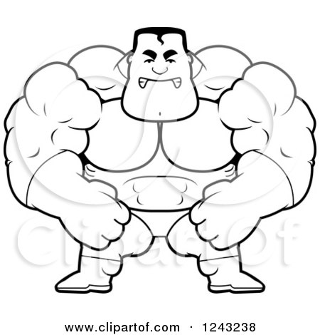Clipart of a Black and White Mad Brute Muscular Super Hero Man - Royalty Free Vector Illustration by Cory Thoman