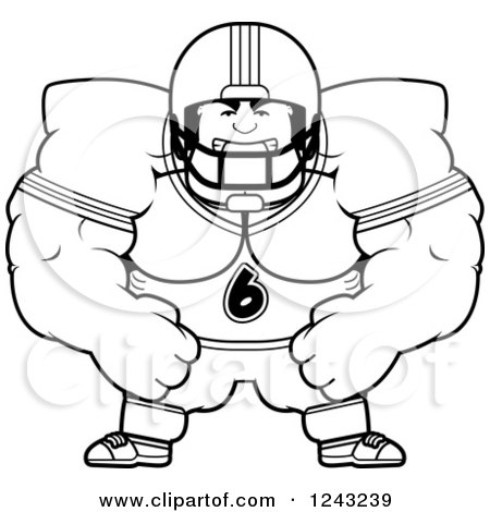 Clipart of a Black and White Mad Brute Muscular Football Player - Royalty Free Vector Illustration by Cory Thoman