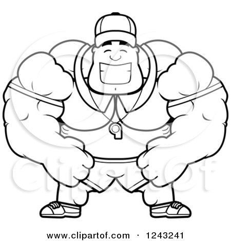 Clipart of a Black and White Brute Muscular Male Sports Coach Smiling - Royalty Free Vector Illustration by Cory Thoman