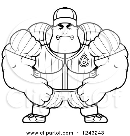 Clipart of a Black and White Mad Brute Muscular Baseball Player Man - Royalty Free Vector Illustration by Cory Thoman