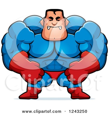 Clipart of a Mad Brute Muscular Super Hero Man - Royalty Free Vector Illustration by Cory Thoman