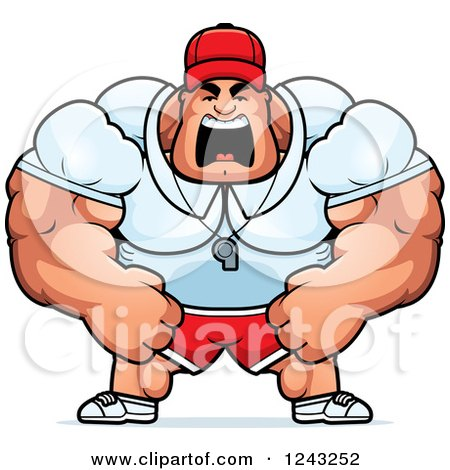 Clipart of a Brute Muscular Male Sports Coach Yelling - Royalty Free Vector Illustration by Cory Thoman