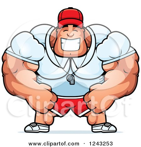 Clipart of a Brute Muscular Male Sports Coach Smiling - Royalty Free Vector Illustration by Cory Thoman