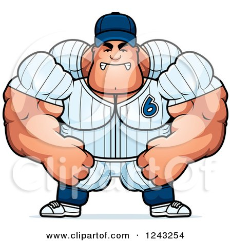 Clipart of a Mad Brute Muscular Baseball Player Man - Royalty Free Vector Illustration by Cory Thoman