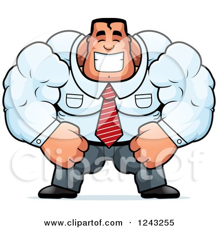 Clipart of a Brute Muscular Caucasian Businessman Smiling - Royalty Free Vector Illustration by Cory Thoman
